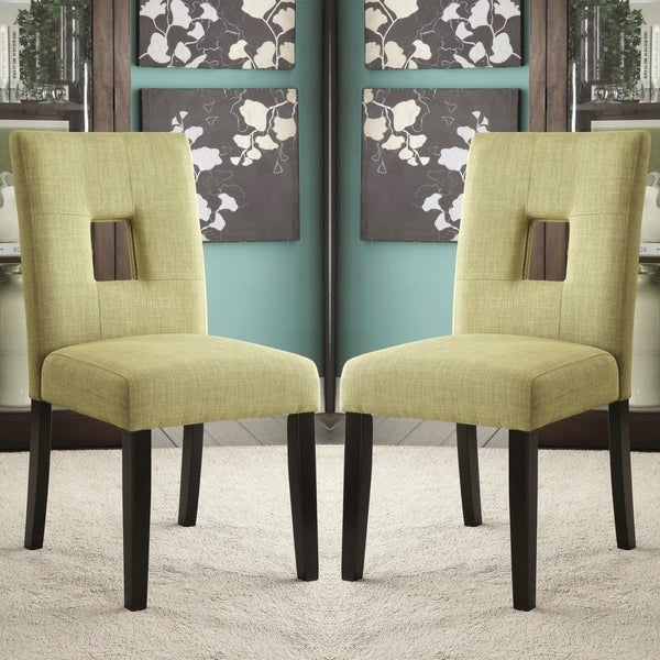 Maldives Open Back Green Upholstered Parsons Dining Chairs (Set Of 2)