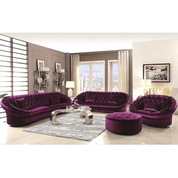 Xnron Cradle Design Purple Velvet Tufted Living Room Collection ...