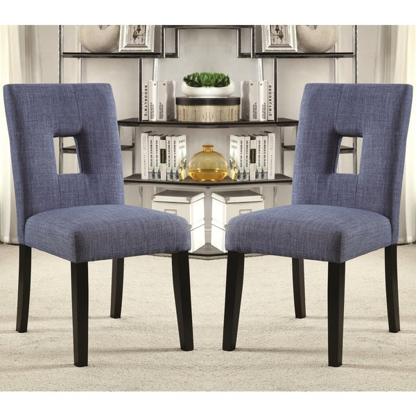 Shop Maldives Open Back Blue Upholstered Parsons Dining Chairs Set