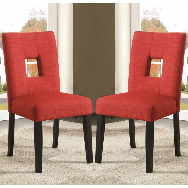 Red Upholstered Dining Room Chairs: Shop Maldives Open Back Red Upholstered Parsons Dining