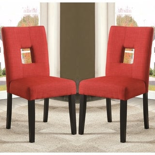 Maldives Open Back Red Upholstered Parsons Dining Chairs (Set of 2)