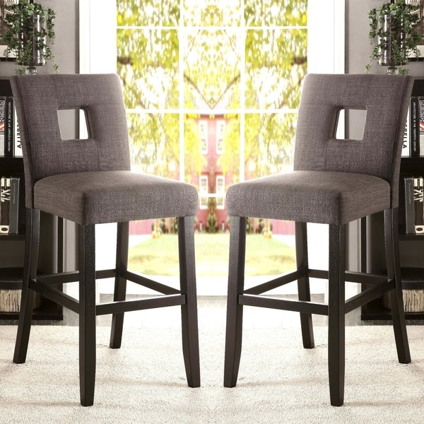 Maldives Open Back Grey Upholstered Counter Height Parsons Dining Stools  (Set Of 2)