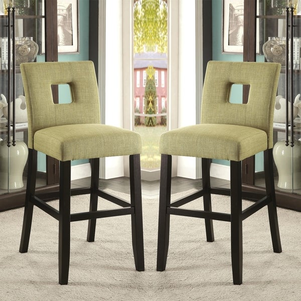Upholstered Bar Stool Ridged Leg Stools With Backs And: Shop Maldives Open Back Green Upholstered Counter Height