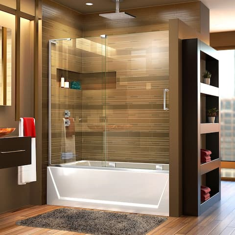 DreamLine Mirage-X 56-60 in. W x 58 in. H Frameless Sliding Tub Door