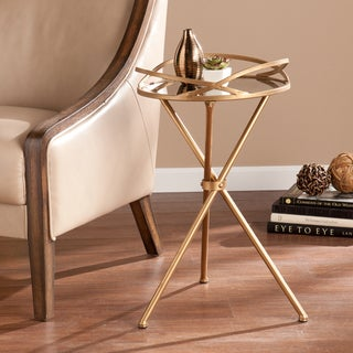 Silver Orchid Grant Antique Bronze-finish Mirrored Accent Table