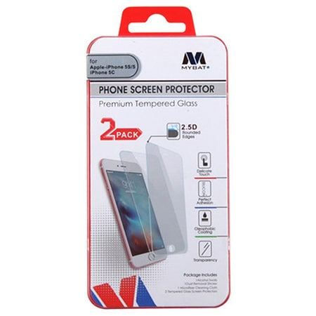 MYBAT SCREEN PROTECTOR FOR APPLE IPHONE 5/5S/SE - TEMPERED GLASS (2-PACK)