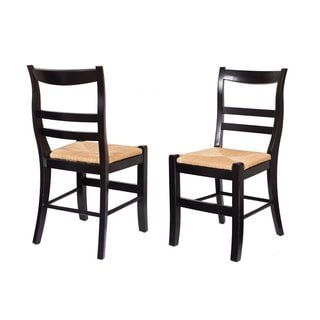 BirdRock Home Side Chair with Woven Rush Seat (Set of 2)