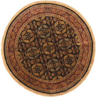 Herat Oriental William Morris Hand-knotted Black/ Burgundy 8 Foot Round Wool Rug (India)