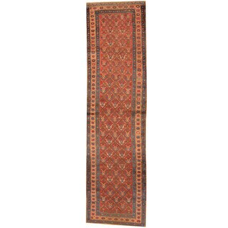 Herat Oriental Persian Hand-knotted 1920s Antique Heriz Red/ Navy Wool Runner (3'1 x 11'7)
