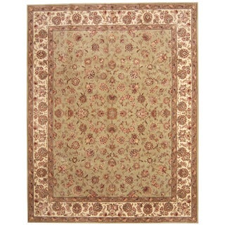 Herat Oriental Indo Hand-tufted Tabriz Light Green/ Ivory Wool & Silk Rug (7'5 x 9'6)