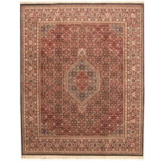 Herat Oriental Indo Hand-knotted Bidjar Burgundy/ Navy Wool Rug (8'1 x 9'10)