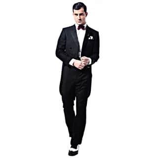 Verno Men's Black Classic Fit Peak Lapel Full Dress 2-Piece Tuxedo With Tails|https://ak1.ostkcdn.com/images/products/11746425/P18662822.jpg?impolicy=medium