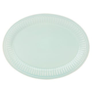 Lenox French Perle Groove Blue Stoneware Oval Platter