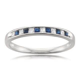 Montebello Jewelry 14k White Gold Blue Sapphire and 1/10ct TDW White Diamond Wedding Band (H-I, I2-I3)