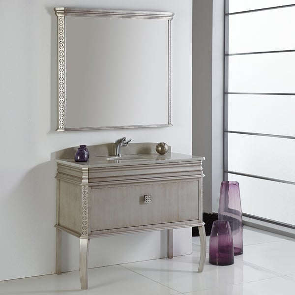 Fresca Platinum London 40 Inch Antique Silver Bathroom Vanity W Swarovski Element Handles