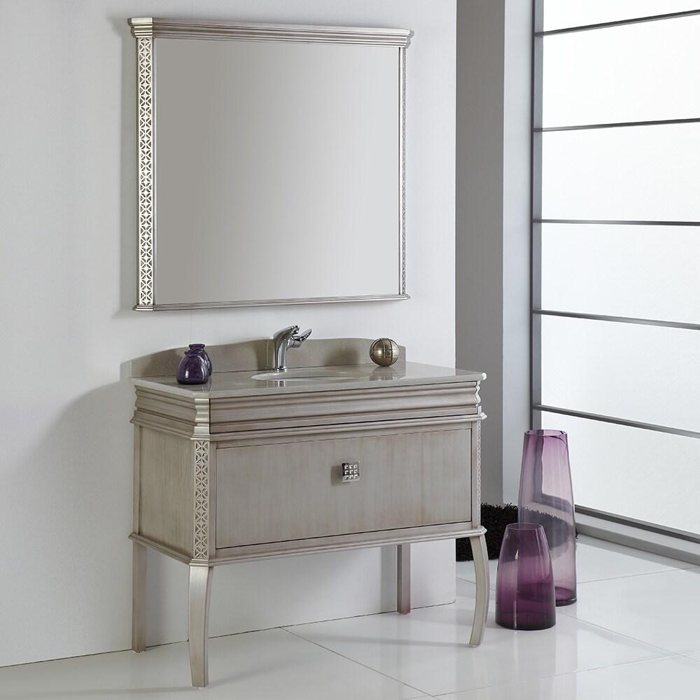 Fresca Platinum London 40 Inch Antique Silver Bathroom Va...