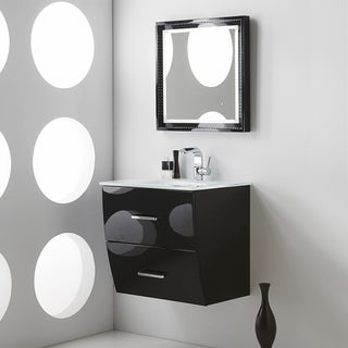 Fresca Platinum Wave 24 Inch Glossy Black Modern Bathroom Vanity