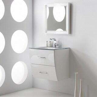 Fresca Platinum Wave 24 Inch Glossy White Modern Bathroom Vanity