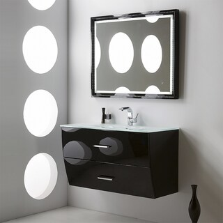 Fresca Platinum Wave 40 Inch Glossy Black Modern Bathroom Vanity