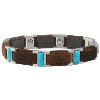Sabona Brown Leather Turquoise Magnetic Bracelet