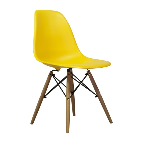 Yellow Dining Chairs: Eames Style Mid-century Modern Yellow Dining Chair