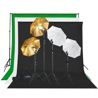 Square Perfect Photography Studio Lighting and Background Kit w/Muslin Backdrops