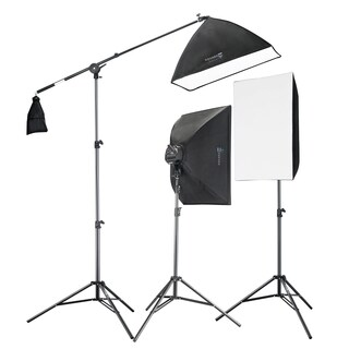 2275W Digital Video Softbox Lighting Kit Boom Set 2 Softboxes and a Boom Stand