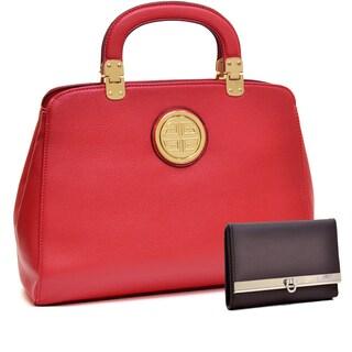 Dasein Emblem Metal Hinge Handle Tapered Briefcase w/Removable Shoulder Strap & Brown Wallet