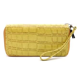Dasein Rolled Handle Faux Croc Briefcase & Matte Croco Dual Zip Compartment Wallet w/ Wristlet Strap