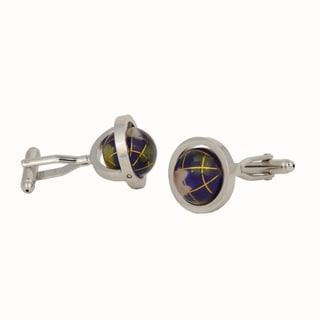 Silver Overlay Lapis Gemstone Cufflinks