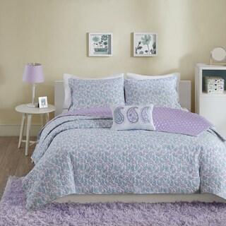 Mi Zone Lizzy Aqua Cotton 4-piece Coverlet Set