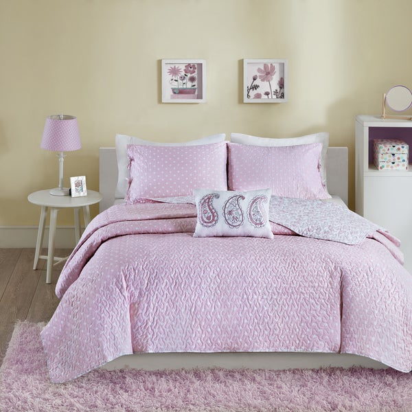 Mi Zone Lizzy Pink Cotton 4-piece Coverlet Set
