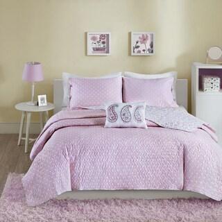 Mi Zone Lizzy Pink Cotton 4-piece Coverlet Set