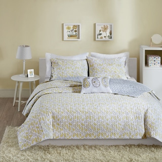 Mi Zone Lizzy Yellow Cotton 4-piece Coverlet Set