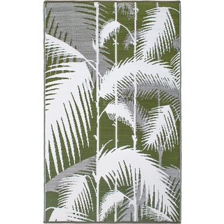 Fab Habitat Indo Indoor/ Outdoor Havana Green Reversible Recycled Plastic Rug (5'x 8')