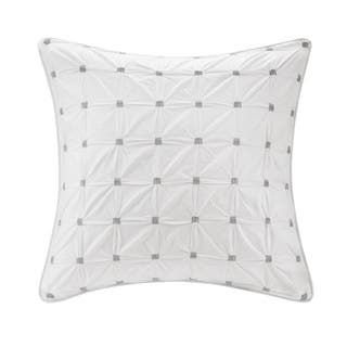 INK+IVY Jane White Embroidered Tufted Cotton Percale 26 x 26-inch Euro Sham Hidden Zipper Closure