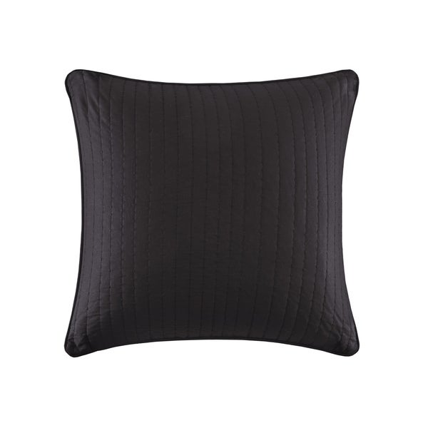 INK+IVY Camila Black Embroidered Cotton Percale Quilted 26 x 26-inch Euro Sham with Zipper Closure