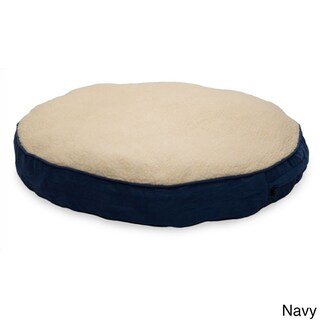FurHaven NAP Deluxe Faux Sheepskin/Suede Round Pillow Dog Bed