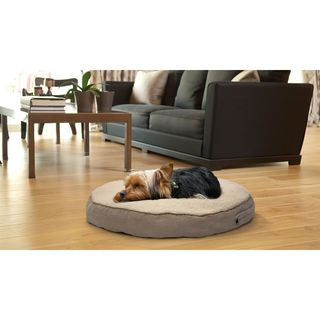 Furhaven NAP Round Deluxe Faux Sheepskin and Suede Pillow Dog Bed