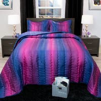 Windsor Home Striped Blue/ Plum Metallic Bedspread Set
