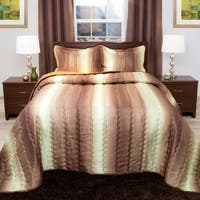 Windsor Home Striped Chocolate/ Taupe Metallic Bedspread Set