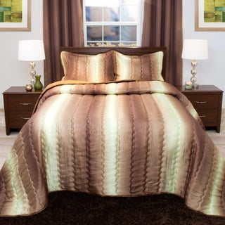Windsor Home Striped Chocolate/ Taupe Metallic Bedspread Set (3 options available)