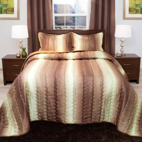Windsor Home Striped Chocolate/ Taupe Metallic Bedspread Set