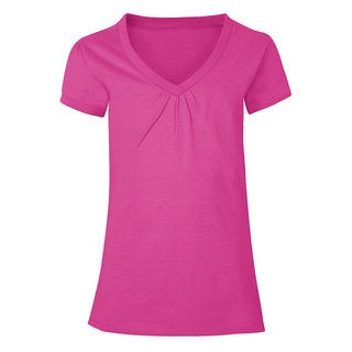 Hanes Girls' Cotton Shirred V-neck Tee