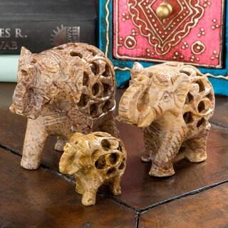 Handmade Elephant Soapstone Incense Holder Set (India)