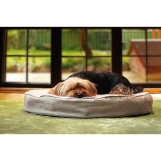 Furhaven NAP Round Deluxe Orthopedic Faux Sheepskin and Suede Dog Bed