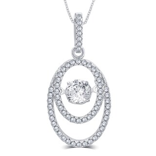 Divina Sterling Silver 1/3ct TGW Cubic Zirconia and Dancing Center Crystal Pendant