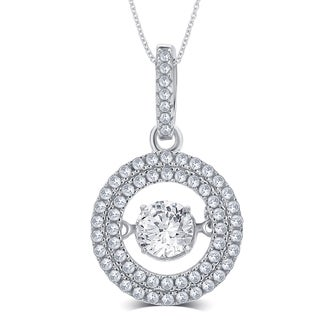 Divina Sterling Silver 2/5ct TGW White Round-cut Cubic Zirconia and Dancing Center Crystal Pendant