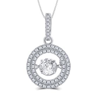 Divina Sterling Silver 2/5ct TGW White Round-cut Cubic Zirconia and Dancing Center Crystal Pendant|https://ak1.ostkcdn.com/images/products/11749954/P18666070.jpg?impolicy=medium