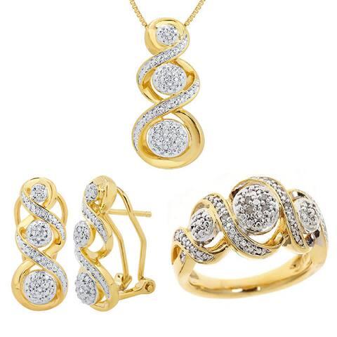 Divina Gold Overlay 1/10ct Diamond Jewelry Set (I-J, I2-I3)